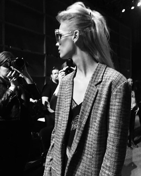 Andrea Moore backstage NZFW