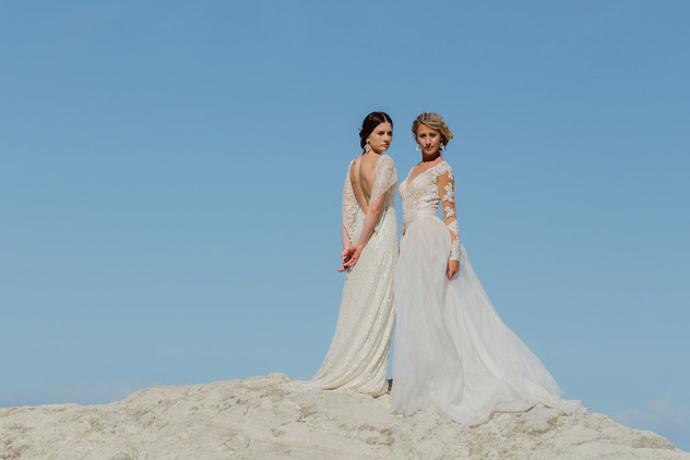 Romantic glowing makeup by Masa Milnovic, gowns by Alma J Bridal Ponsonby