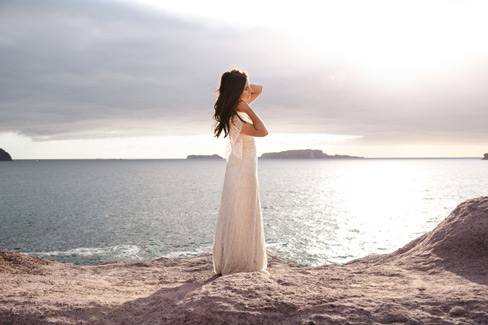 Truly and Madly editorial sunrise at gorgeous Coromandel beach, dress by Alma J Bridal