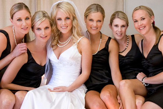 Waiheke wedding, pretty bride and bridesmaids